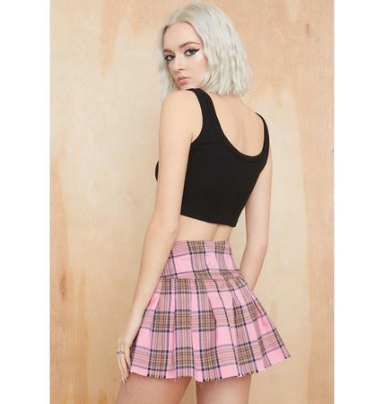 Current Mood Plaid Pleated Mini Skirt - Pink | Dolls Kill