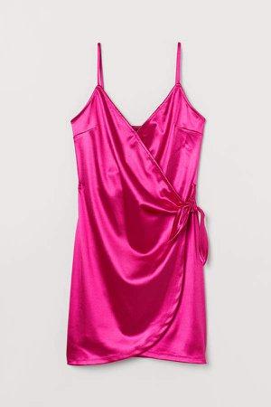 Shimmering Wrap Dress - Pink