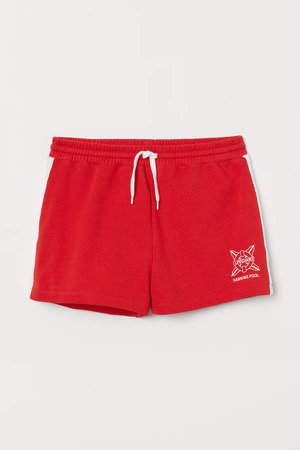 Sweatshorts with Side Stripes - Red