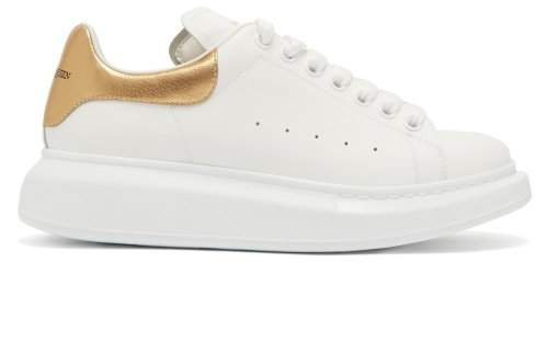 Raised Sole Low Top Leather Trainers - Womens - White Gold