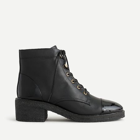 J.Crew: Crepe-sole Lace-up Boots In Leather For Women black