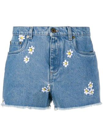 Miu Miu Floral Embroidery Denim Shorts GWP3161VZY Blue | Farfetch