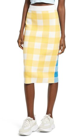 Gingham Check Pencil Skirt
