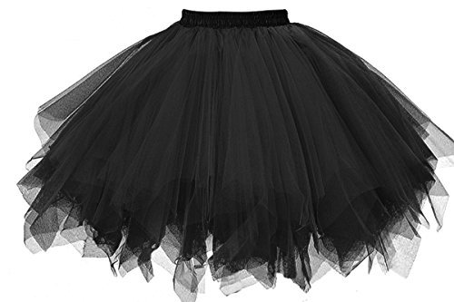 Musever 1950s Vintage Ballet Bubble Skirt Tulle Petticoat Puffy Tutu Black XX-Large/XXX-Large | WantItAll