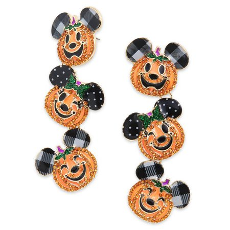 Mickey and Minnie Mouse Jack-o'-Lantern Dangle Earrings by BaubleBar | shopDisney