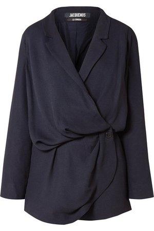Jacquemus   Sisco double-breasted woven mini wrap dress   NET-A-PORTER.COM