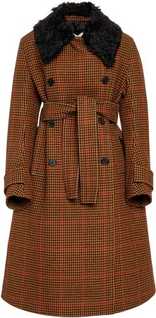 Houndstooth A-Line Wool Coat Size: 40