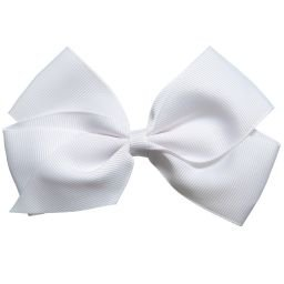 Peach Ribbons - White Grosgrain Bow Hair Clip (12cm) | Childrensalon