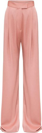 Alex Perry Hartley Satin Crepe Pleated Wide-Leg Trousers