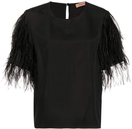 feathered sleeve T-shirt