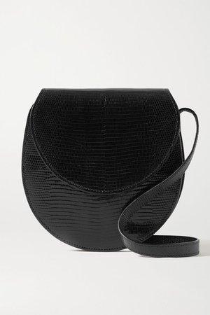 The Saddle Lizard Shoulder Bag - Black