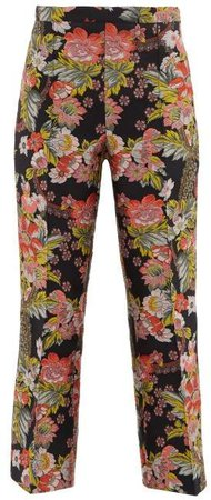 Kick Flare Floral Brocade Trousers - Womens - Black Multi