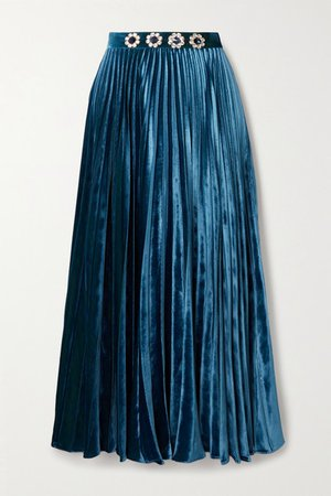 Crystal-embellished Pleated Velvet Midi Skirt - Blue