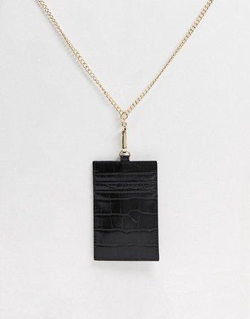 ASOS DESIGN lanyard card holder in black croc | ASOS