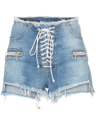 Unravel Project Lace-Up Denim Shorts UWYC002R190200087100 Blue | Farfetch