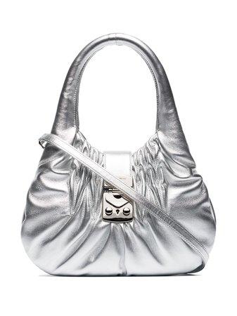 Miu Miu Ruched-Effect Shoulder Bag 5BC0672C9P Silver | Farfetch