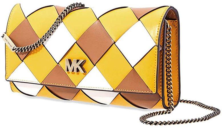 Michael Kors Mott Large Woven East West Clutch- Jasmine Yellow/Multi: Handbags: Amazon.com