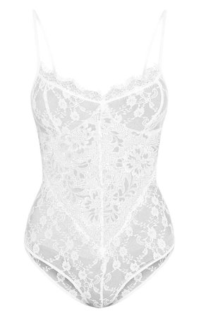 Rania White Sheer Lace Thong Bodysuit | Tops | | PrettyLittleThing