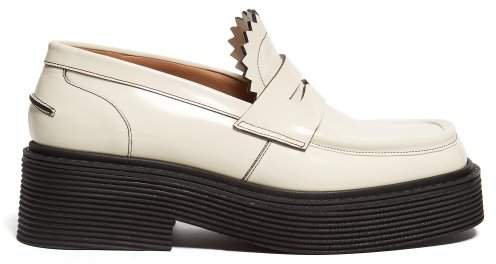 Ribbed Midsole Leather Loafers - Womens - Cream