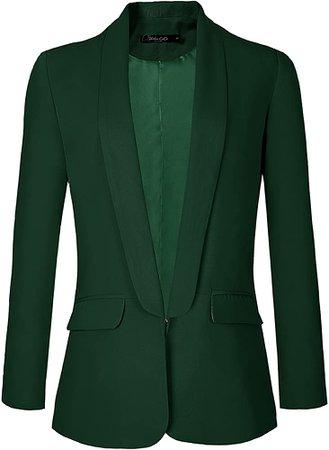 Urban CoCo Women's Office Blazer Jacket Open Front (XL, Dark Green) at Amazon Women's Clothing store