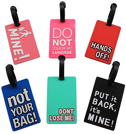 Amazon.com   Mziart Funny Luggage Tags Set of 6 Colorful Unique Travel Baggage Bag Tags Suitcase Identify Labels for Women Men   Luggage Tags