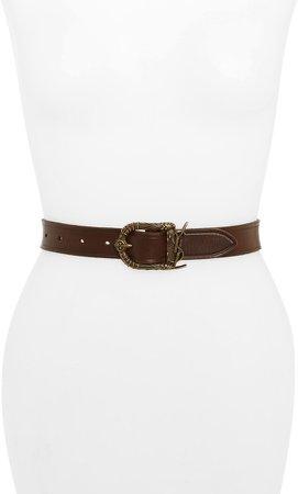 Celtic Monogram Buckle Leather Belt