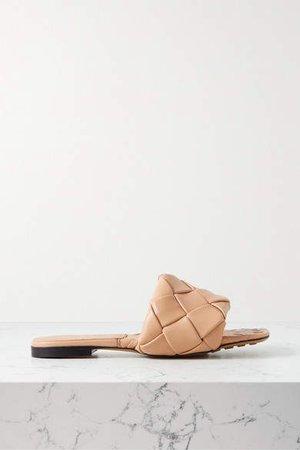 Intrecciato Leather Slides - Sand
