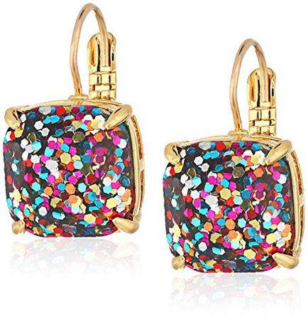 Amazon.com: kate spade new york Small Square Leverback Multi-Glitter Drop Earrings: Jewelry