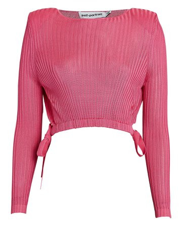 Self-Portrait Padded Shoulder Rib Knit Crop Top   INTERMIX®
