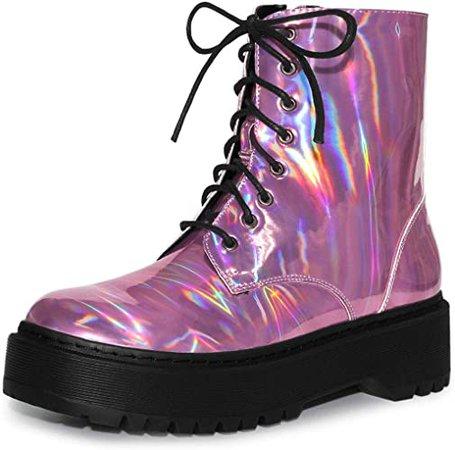 Amazon.com | Allegra K Women's Round Toe Colorful Platform Pink Combat Boots - 6 M US | Ankle & Bootie