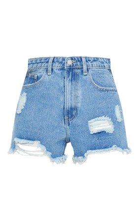 Plt Mid Blue Wash Distressed Denim Shorts | PrettyLittleThing USA