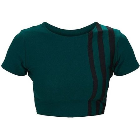 Forest Green Stripe Panel Round Neck Crop Top