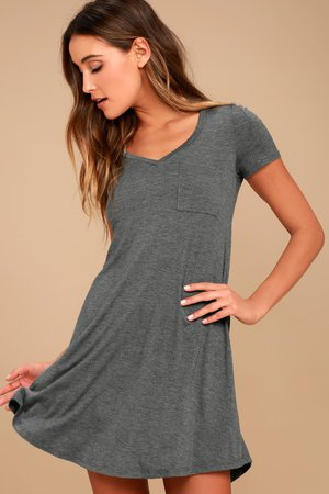 Grey Dress - Shift Dress - Shirt Dress - Lulus