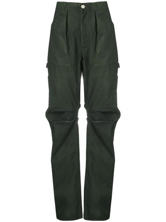 Shop green The Attico straight-leg cargo trousers with Express Delivery - Farfetch