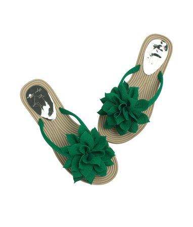 Big Flower Flip Flops Beach Sandals Green