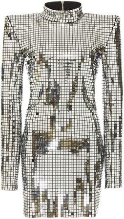 High-Neck Silver Mini Dress