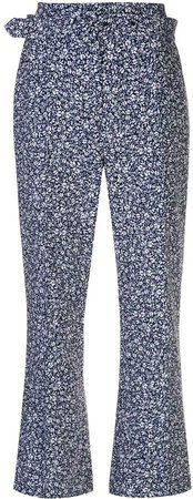 cropped ditsy floral print trousers
