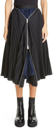 Zip Detail Pleated Skirt
