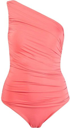 one shoulder draped swimsuit