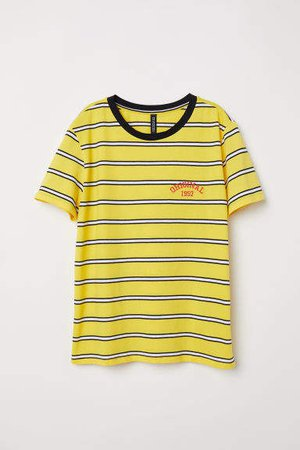 T-shirt with Embroidery - Yellow