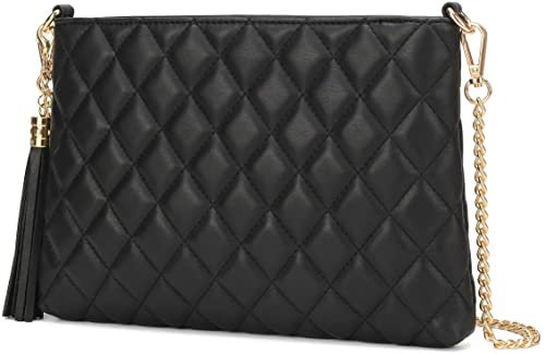 Lola Mae Simple Quilted Crossbody Bag, Lightweight Wristlet Shoulder Purse (Black): Handbags: Amazon.com
