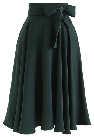 Flare Hem Bowknot Waist Midi Skirt in Emerald - Retro, Indie and Unique Fashion