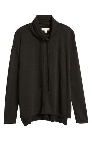 Treasure & Bond Cowl Tie Neck Cotton Blend Sweatshirt | Nordstrom
