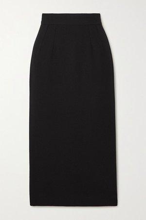 Wool-blend Crepe Midi Skirt - Black