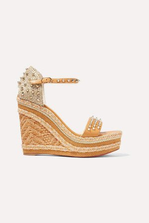 Madmonica 120 Spiked Raffia And Leather Espadrille Wedge Sandals