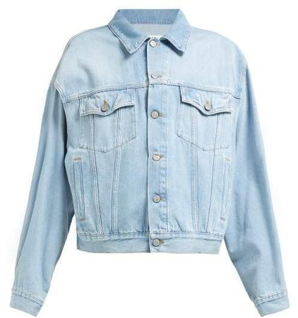 MM6 MAISON MARGIELA Slit Sleeve Denim Jacket - Womens - Light Blue