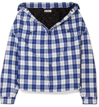 Oversized Checked Quilted Cotton-flannel Shirt - Blue