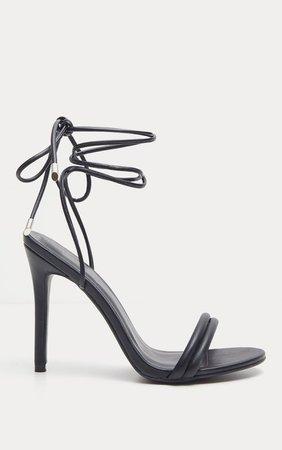 Black Strappy Leg Tie Heeled Sandal | Shoes | PrettyLittleThing USA