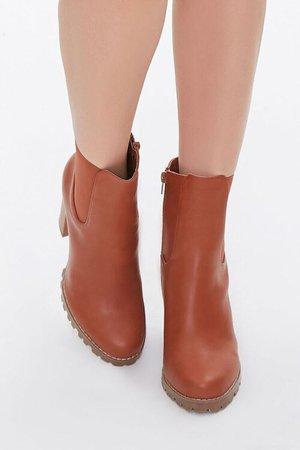 Faux Leather Block Heel Chelsea Booties