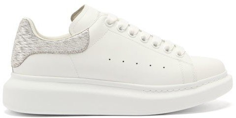Oversized Raised-sole Leather Trainers - White Silver